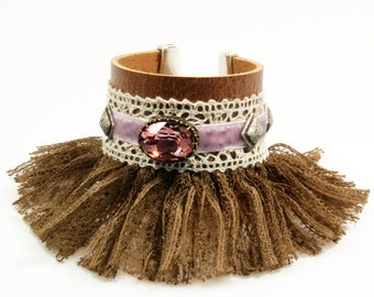 Leather cuff fringed in brown with Swarovski in old pink, shabby chic bracelet with lace - OOAK handmade jewelry SALE from eur 48,95