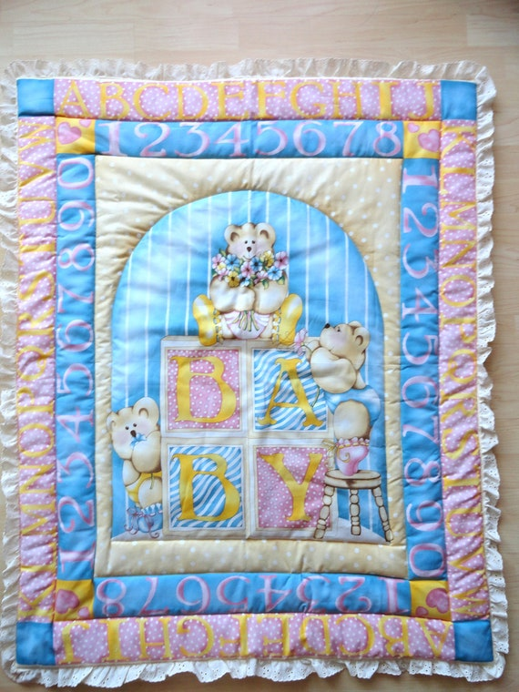 Items Similar To Alphabet Bear Baby Panel Quilt On Etsy