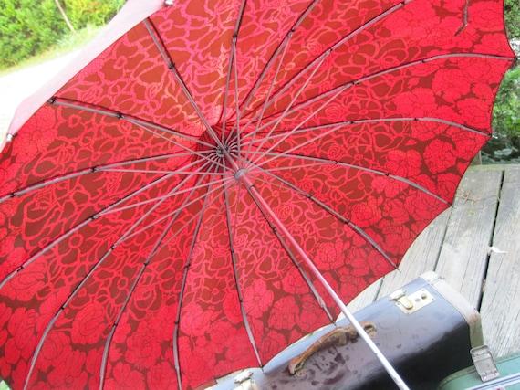 Umbrella: Red and Brown Floral Vintage Parasol