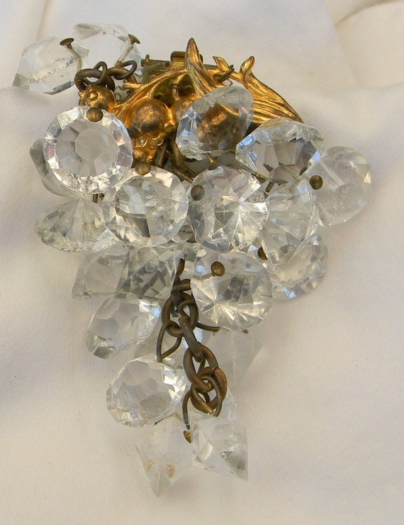 Vintage 1940s WWII Dress Clip Grapes Cluster Dangling Crystal Russian Gold Wired on Pierced Plastic Baking