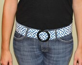 Blue and Cream Women's Fabric Belt Size Medium- Ready to Ship