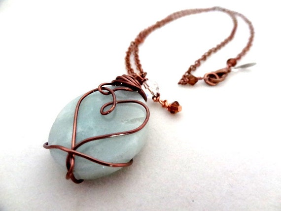 Blue Amazonite Crystal Bead Pendant Copper Wire Wrapped Heart Love Handmade Necklace Jewelry