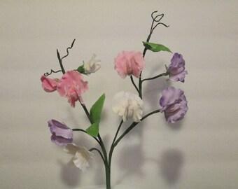sweet pea cake topper wedding bridal spring gumpaste edible sugar blue pink purple white