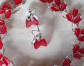 Vintage Lisner Necklace and Screw Earring Set in Silvertone with Thermoset Rosy Red Scalloped Leaves and Shiny Rhinestones