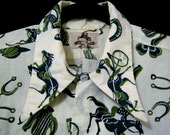 T h r e a d g a m e s / get lucky NEAR MINT VTG 50s Turf inspired shirt, Unisex sizing, track motifs, chock full of lucky horseshoes