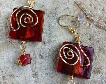 Gold Wire Against Red Glass earrings