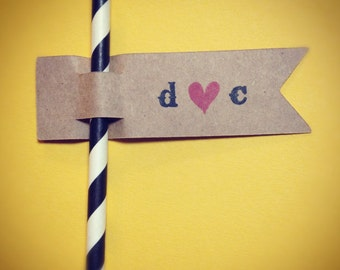 Personalized Wedding Love Straw Flags - Set of 12