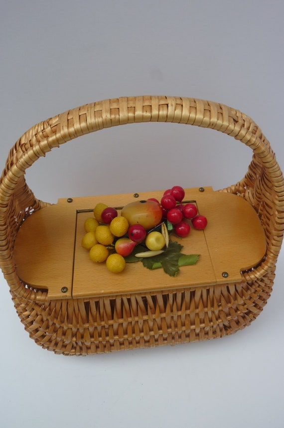 Reduced Wooden  Purse Hand Bag Basket Style with Fruit 1960s