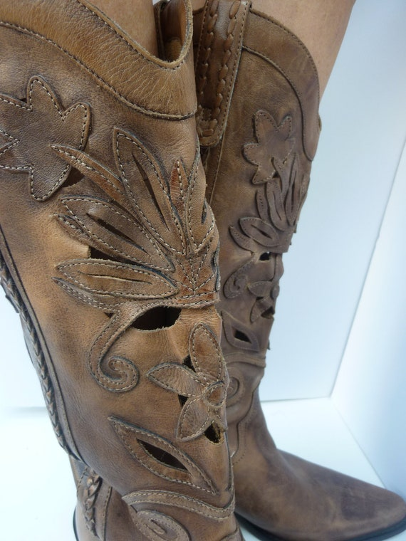 1980s Cowboy Boots with Leather Cut Out Design Size 8 1/2M Made in Brazil