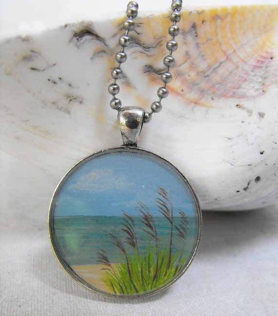 Hand Painted Pendant Sea Oats by the Ocean Necklace with Chain - One of a Kind Original Wearable Art