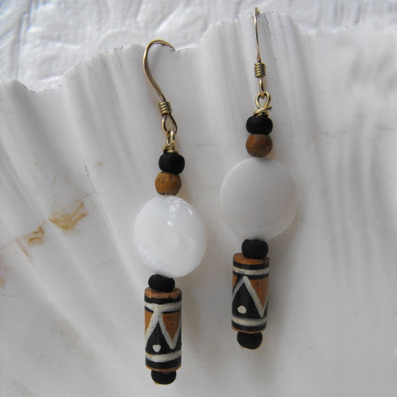 Painted Tribal Wooden Bead Mother of Pearl Earrings - Wood and MOP with Gold Filled French Ear Wires