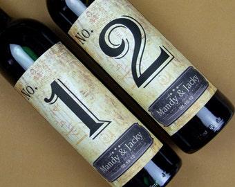 Custom Wedding Wine Label, Personalized wine Label, wedding Wine bottle label, Table number wine label-014