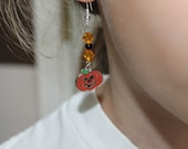 Halloween pumpkin earrings orange and black earrings kids earrings halloween jewelry