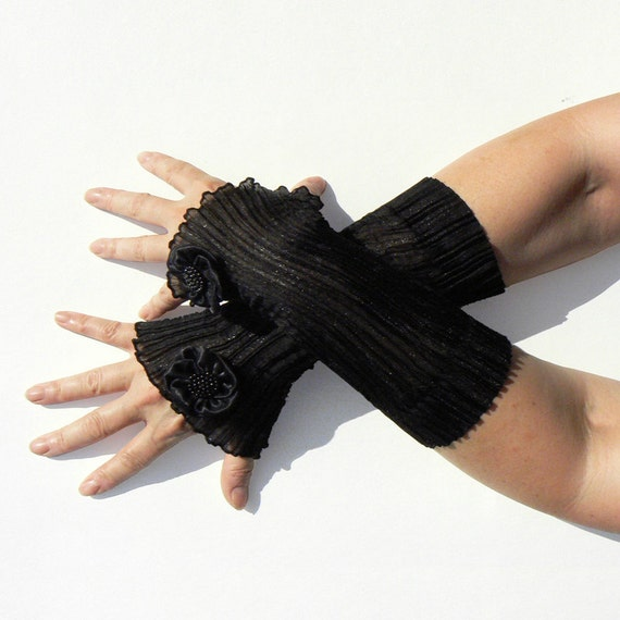 Elegant arm cuffs with flower embellishment, wrist warmers, fingerless gloves from shiny black organza, Wristlings