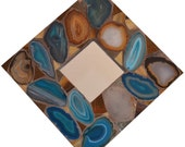 "Handmade agates and glass mosaic mirror 10 1/4"" x 10 1/4."" FREE SHIPPING"