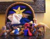 Nativity or Creche-Needle-felted.10 Pieces (Mary and the baby together are one piece).Waldorf inspired characters.Free ShippingPrice Reduced
