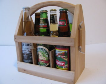 Ten ECONOMY Wood 6 Pack Bottle Carrier, Beer Boat or Beer Tote, Gifts for Men, Gifts for Dad, Groomsmen Gifts