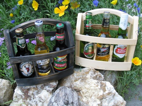 Five handmade Beer bottle six pack carrier Wood beer box 6 pack carrier Beer boat.