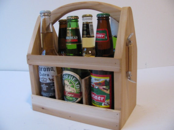 Reserved for Nicole, TWO ECONOMY Wood 6 Pack Bottle Carriers with two graphics
