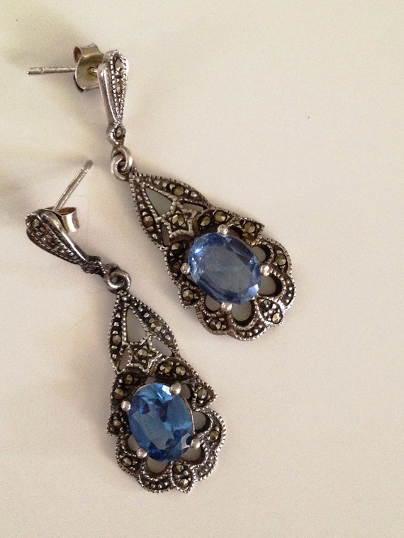 Stunning Blue Topaz Sterling Silver and Marcasite Earrings Vintage Signed