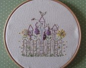 Embroidery Hoop Art.   - Bird houses on a Summer's Day... hand embroidered original art work.