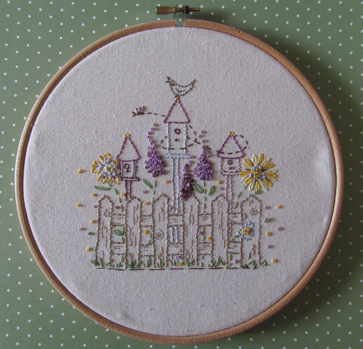 Embroidery hoop art bird houses on a by thecockeyedartymiss