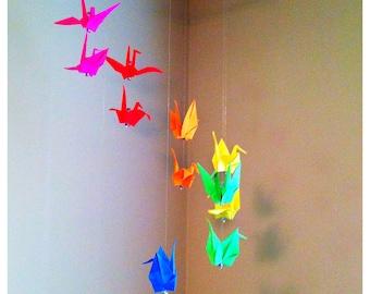 Origami Rainbow Crane Mobile Medium