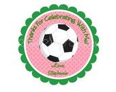 Girl Soccer Birthday Favor Tags DIY Printable File