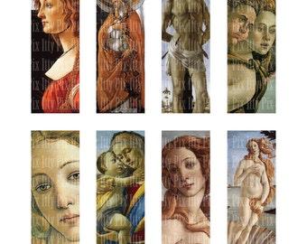 Botticelli Digital Collage Sheet - 1 x 3 inch rectangle digital collage - microscope slide collage sheet - Instant Download