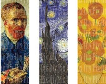 Van Gogh Digital Collage Sheet - 1 x 3 inch rectangle digital collage - microscope slide collage sheet - Instant Download