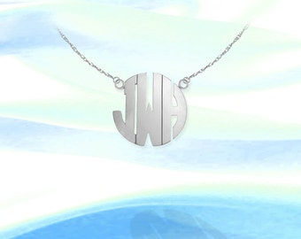 Monogram Necklace - .5 inch Sterling Silver Handcrafted - Personalized Initial Necklace - Made in USA