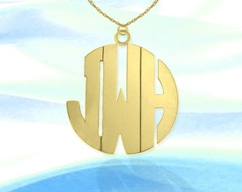 Monogram Necklace - 1.5 inch 24K Gold Plated Sterling Silver Handcrafted - Personalized Monogram -  Initial Necklace - Made in USA