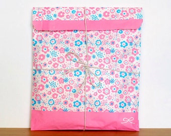 Pink floral flat paper treat bags - set of 12
