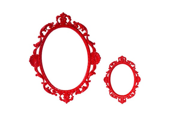RESERVED FOR KRYSTLE Red Ornate Brass Frames (2 Pieces)- To be painted in Coral Red