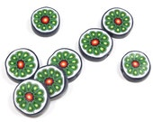 Green round flat beads, Polymer clay beads, millefiori flower in blue, orange, green, red and white, elegant beads, set of 8
