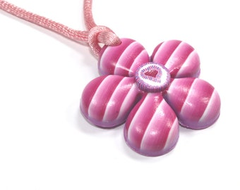 Valentines day gift, flower shaped necklace, polymer clay pink, stripes and heart pattern, Millefiori heart, gift for girls and teens