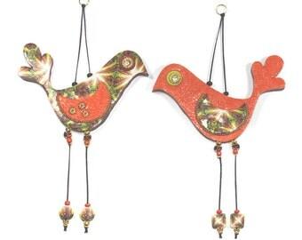 Valentines day gift, Love birds, wedding gift, wall decor love birds, Polymer clay birds, Bird couple in orange and gold, romantic pair