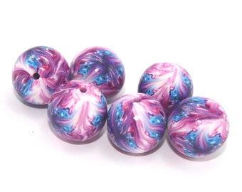 Polymer clay beads, round abstract beads in pinks purple blue and white, elegant beads, set of 6