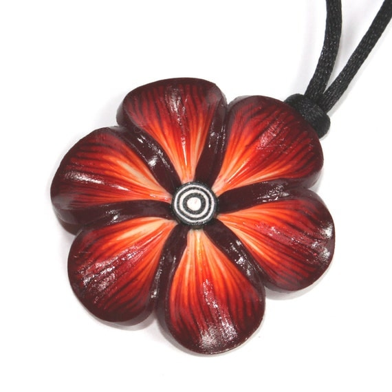 Spring flower trendy necklace, polymer clay flower, Millefiori rich warm colors flower, gift for girls and women