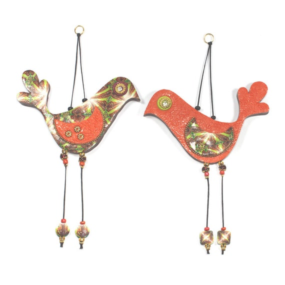 Valentines day gift, Love birds, wedding gift, wall decor love birds, Polymer clay birds, Bird couple in orange and gold, romantic pair