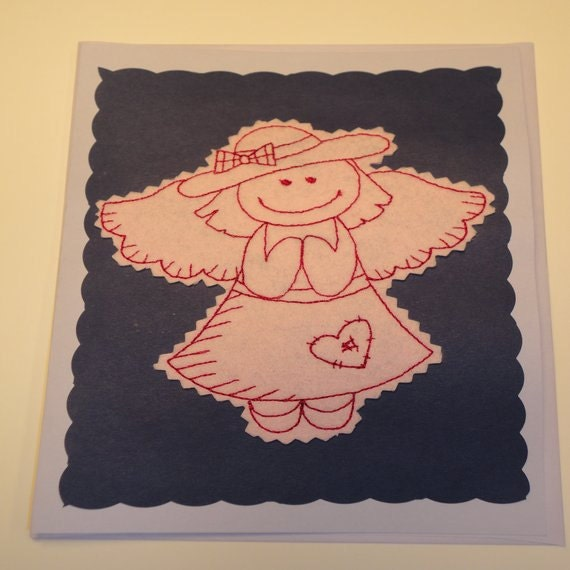 Angel Handmade Blank Greeting Card By EmbroideringNan On Etsy