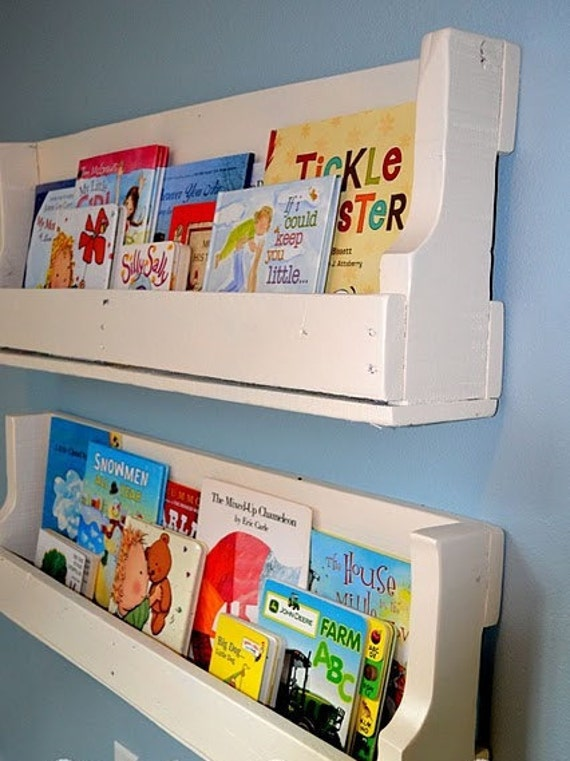 The Natale.  Custom (made to order) White Kids book shelf. Made of reclaimed pallet wood.
