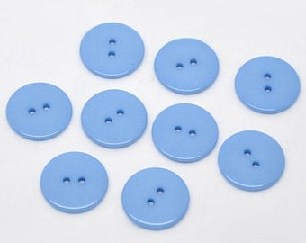 50 Round Plastic Buttons Two Hole 23mm Blue - 50 Pack PB45