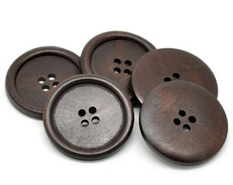 "Dark Brown Colour Round Extra Large Wood Four Hole Button for Coat Button Sweater Button Pack of 4 40 mm (1-5/8"")"