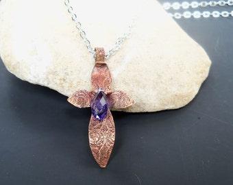 Copper cross, copper, cross, etched copper, etched cross, purple, briolet crystal, necklace