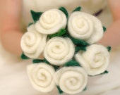Ivory wedding bouquet - 7 life size ivory needle sculpted wool roses with deep green leaves
