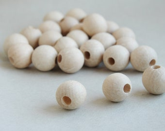 20  mm Wooden beads 10 pcs - big hole 8 mm - natural eco friendly