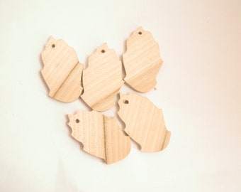 Set of 5 - Unfinished Wooden pendant - leaf- natural eco friendly KU-19