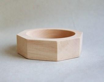 25 mm Wooden bracelet unfinished round octahedral - natural eco friendly OKT25
