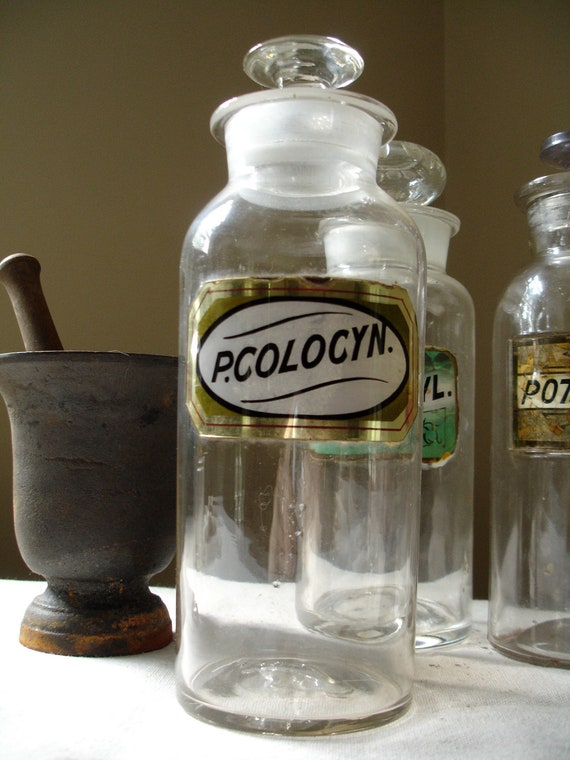 """1850s Hand Blown Glass Apothecary Bottle """"P.COLOCYN."""" - Wax Label Under Glass Pharmacy Medical Antique"""